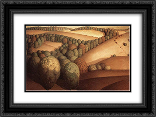 Near the sunset 24x18 Black or Gold Ornate Framed and Double Matted Art Print by Grant Wood