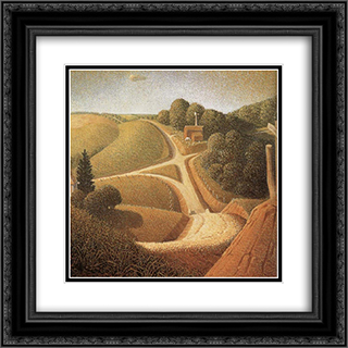 New Road 20x20 Black or Gold Ornate Framed and Double Matted Art Print by Grant Wood