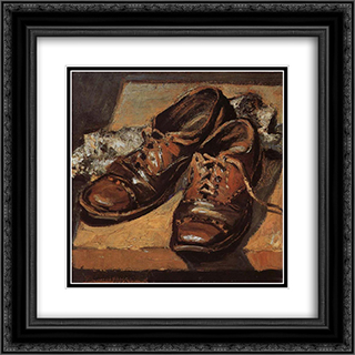 Old shoes 20x20 Black or Gold Ornate Framed and Double Matted Art Print by Grant Wood