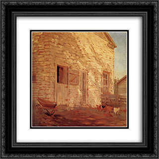 Old Stone and barn 20x20 Black or Gold Ornate Framed and Double Matted Art Print by Grant Wood