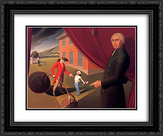 Parson Weem's Fable 24x20 Black or Gold Ornate Framed and Double Matted Art Print by Grant Wood