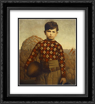 Plaid Sweater 20x22 Black or Gold Ornate Framed and Double Matted Art Print by Grant Wood