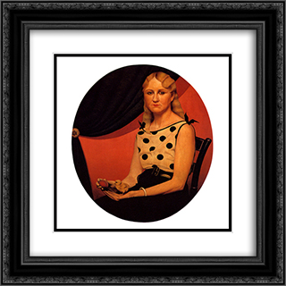 Portrait of Nan 20x20 Black or Gold Ornate Framed and Double Matted Art Print by Grant Wood