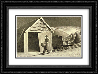 Seed Time and Harvest 24x18 Black or Gold Ornate Framed and Double Matted Art Print by Grant Wood