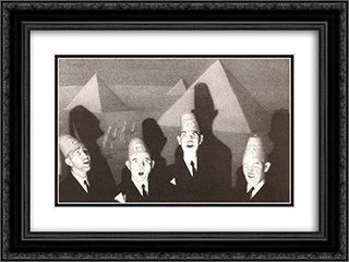 Shrine Quartet 24x18 Black or Gold Ornate Framed and Double Matted Art Print by Grant Wood