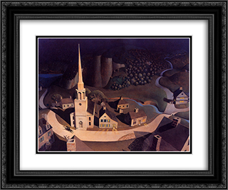 The Midnight Ride of Paul Revere 24x20 Black or Gold Ornate Framed and Double Matted Art Print by Grant Wood