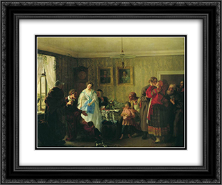 Congratulation of betrothed in landlord's house 24x20 Black or Gold Ornate Framed and Double Matted Art Print by Grigoriy Myasoyedov