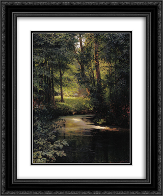 Creek in the forest 20x24 Black or Gold Ornate Framed and Double Matted Art Print by Grigoriy Myasoyedov