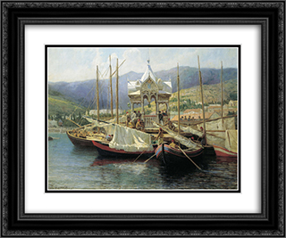 Enbarkement in Yalta 24x20 Black or Gold Ornate Framed and Double Matted Art Print by Grigoriy Myasoyedov