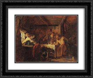 Escape of Grigory Otrepyev from inn on the Lithuanian border 24x20 Black or Gold Ornate Framed and Double Matted Art Print by Grigoriy Myasoyedov