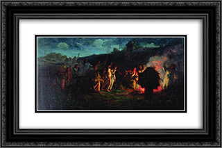 Opahivanie 24x16 Black or Gold Ornate Framed and Double Matted Art Print by Grigoriy Myasoyedov
