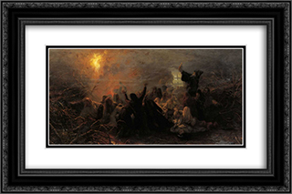 People burning themselves 24x16 Black or Gold Ornate Framed and Double Matted Art Print by Grigoriy Myasoyedov