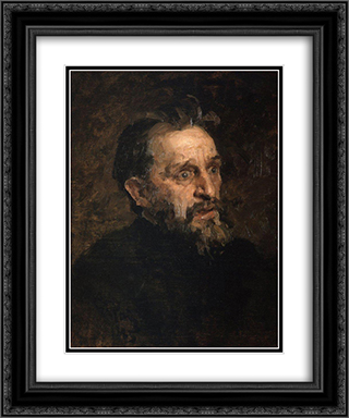 Portrait of I. Repin (study) 20x24 Black or Gold Ornate Framed and Double Matted Art Print by Grigoriy Myasoyedov