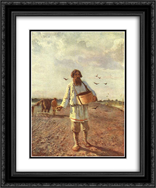 Sower 20x24 Black or Gold Ornate Framed and Double Matted Art Print by Grigoriy Myasoyedov