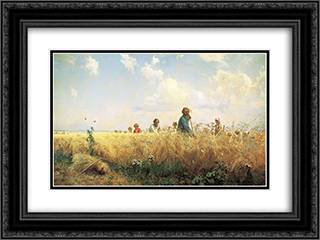 Time of harvesting (Mowers) 24x18 Black or Gold Ornate Framed and Double Matted Art Print by Grigoriy Myasoyedov