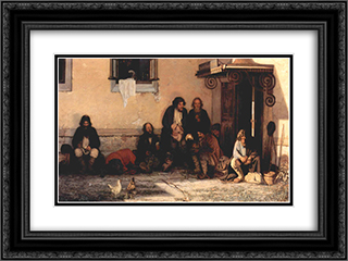 Zemstvo is having their lunch 24x18 Black or Gold Ornate Framed and Double Matted Art Print by Grigoriy Myasoyedov