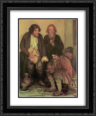 Zemstvo is having their lunch (study) 20x24 Black or Gold Ornate Framed and Double Matted Art Print by Grigoriy Myasoyedov