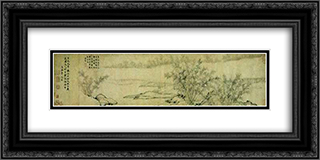 Bamboo Groves in Mist and Rain 24x12 Black or Gold Ornate Framed and Double Matted Art Print by Guan Daosheng
