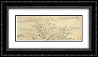 Bamboo Groves in Mist and Rain (detail) 24x14 Black or Gold Ornate Framed and Double Matted Art Print by Guan Daosheng