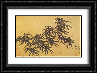 Ink Bamboo 24x18 Black or Gold Ornate Framed and Double Matted Art Print by Guan Daosheng