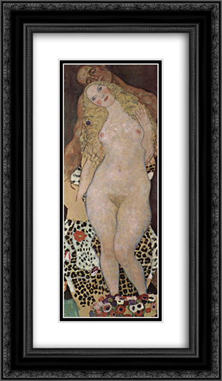 Adam and Eva (unfinished) 14x24 Black or Gold Ornate Framed and Double Matted Art Print by Gustav Klimt