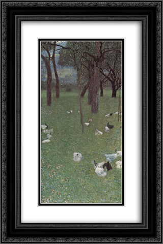 After the Rain (Garden with Chickens in St. Agatha) 16x24 Black or Gold Ornate Framed and Double Matted Art Print by Gustav Klimt