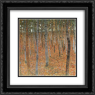 Beech Grove I 20x20 Black or Gold Ornate Framed and Double Matted Art Print by Gustav Klimt