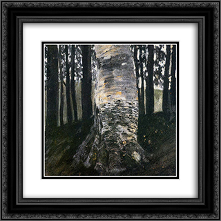 Birch in a Forest 20x20 Black or Gold Ornate Framed and Double Matted Art Print by Gustav Klimt