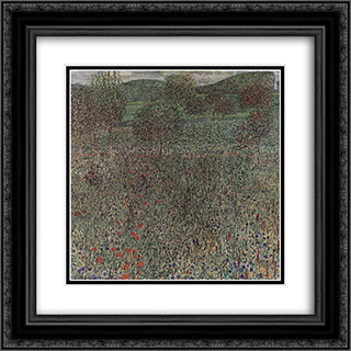 Blooming field 20x20 Black or Gold Ornate Framed and Double Matted Art Print by Gustav Klimt
