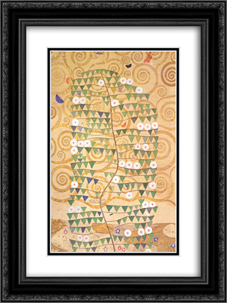 Cartoon for the frieze of the Villa Stoclet in Brussels right part of the tree of life 18x24 Black or Gold Ornate Framed and Double Matted Art Print by Gustav Klimt