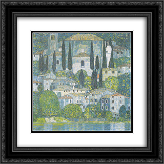Chruch in Cassone 20x20 Black or Gold Ornate Framed and Double Matted Art Print by Gustav Klimt