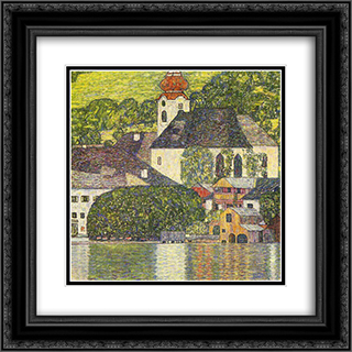 Church in Unterach on the Attersee 20x20 Black or Gold Ornate Framed and Double Matted Art Print by Gustav Klimt