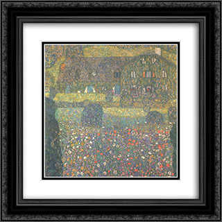 Country House by the Attersee 20x20 Black or Gold Ornate Framed and Double Matted Art Print by Gustav Klimt