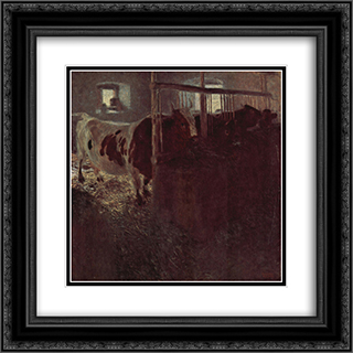 Cows in the barn 20x20 Black or Gold Ornate Framed and Double Matted Art Print by Gustav Klimt