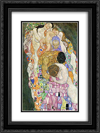Death and Life 18x24 Black or Gold Ornate Framed and Double Matted Art Print by Gustav Klimt