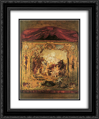 Draft of a theater curtain 20x24 Black or Gold Ornate Framed and Double Matted Art Print by Gustav Klimt