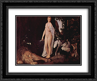Fable 24x20 Black or Gold Ornate Framed and Double Matted Art Print by Gustav Klimt