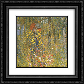 Farm Garden with Crucifix 20x20 Black or Gold Ornate Framed and Double Matted Art Print by Gustav Klimt