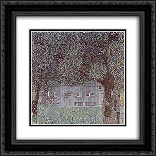 Farmhouse in Upper Austria 20x20 Black or Gold Ornate Framed and Double Matted Art Print by Gustav Klimt