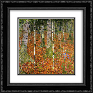 Farmhouse with Birch Trees 20x20 Black or Gold Ornate Framed and Double Matted Art Print by Gustav Klimt