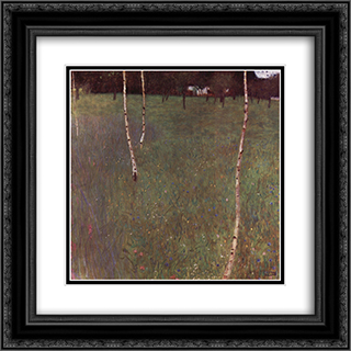 Farmhouses with Birch Trees 20x20 Black or Gold Ornate Framed and Double Matted Art Print by Gustav Klimt