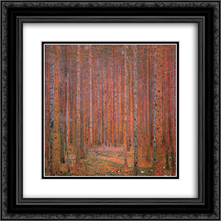 Fir Forest I 20x20 Black or Gold Ornate Framed and Double Matted Art Print by Gustav Klimt