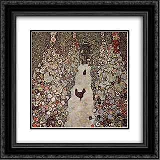 Garden with Roosters 20x20 Black or Gold Ornate Framed and Double Matted Art Print by Gustav Klimt