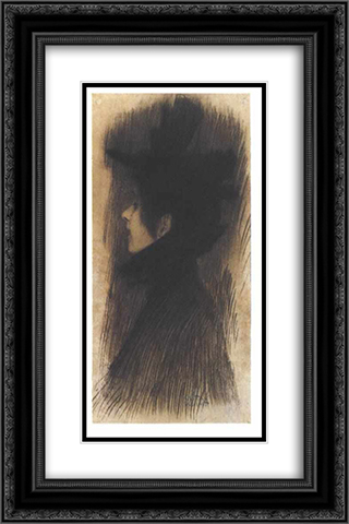 Girl with hat and cape in profil 16x24 Black or Gold Ornate Framed and Double Matted Art Print by Gustav Klimt