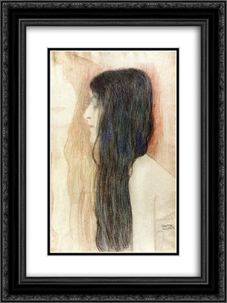 Girl with Long Hair, with a sketch for 'Nude Veritas' 18x24 Black or Gold Ornate Framed and Double Matted Art Print by Gustav Klimt