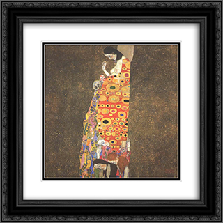Hope II 20x20 Black or Gold Ornate Framed and Double Matted Art Print by Gustav Klimt