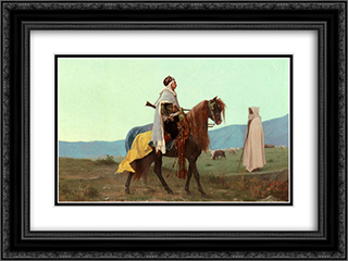 An Arab Horseman 24x18 Black or Gold Ornate Framed and Double Matted Art Print by Gustave Boulanger