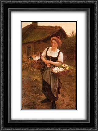 The Farm Girl 18x24 Black or Gold Ornate Framed and Double Matted Art Print by Gustave Boulanger