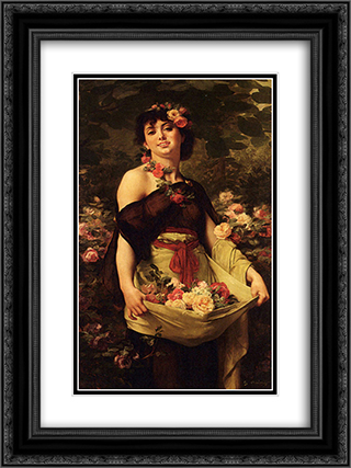 The Flower Girl 18x24 Black or Gold Ornate Framed and Double Matted Art Print by Gustave Boulanger