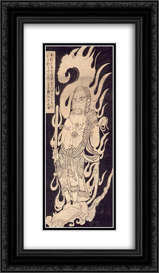 Akiba Sajakubo 14x24 Black or Gold Ornate Framed and Double Matted Art Print by Hakuin Ekaku